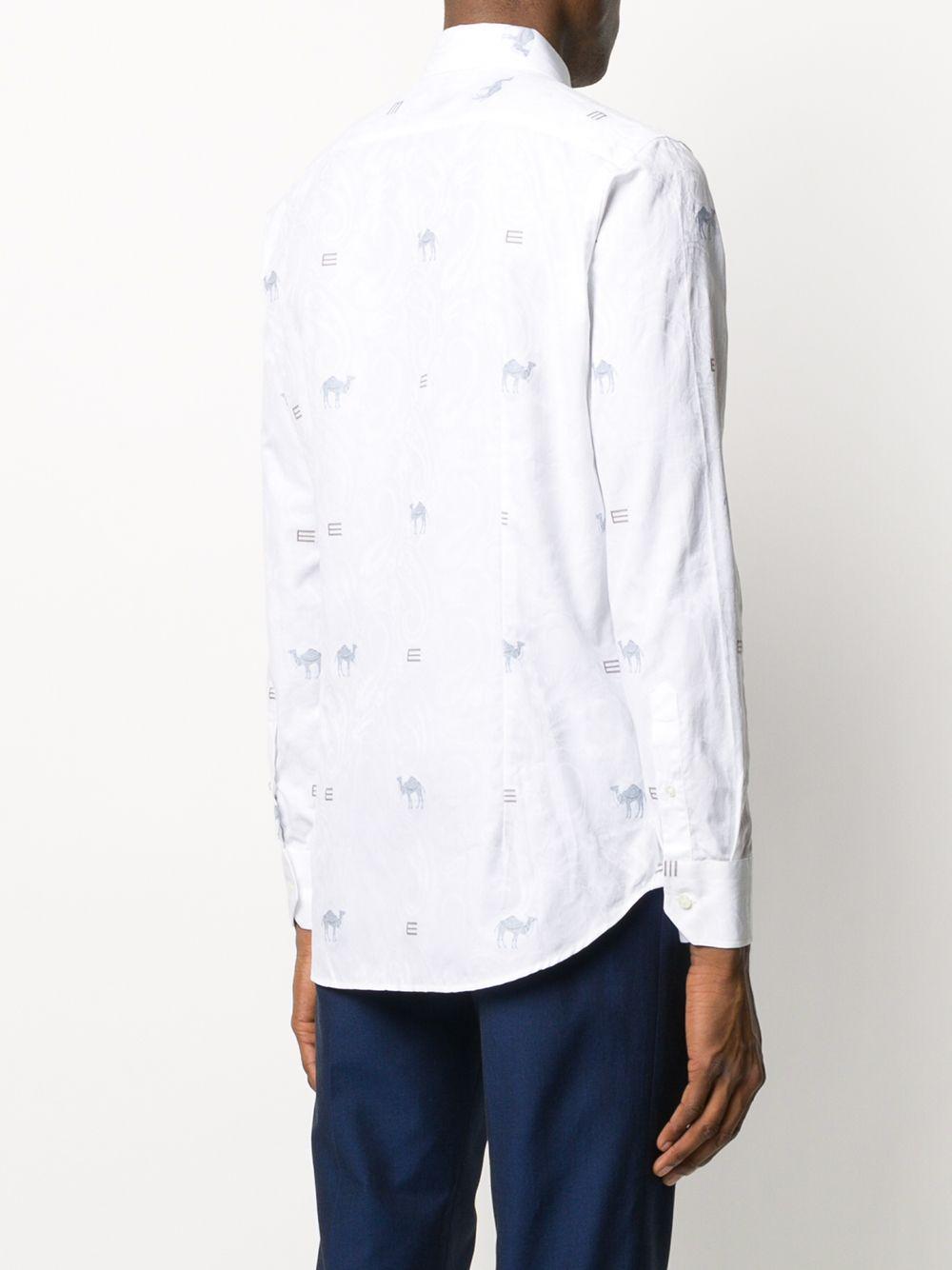 Etro Katoen Overhemd Met Geborduurde Details in het Wit voor heren