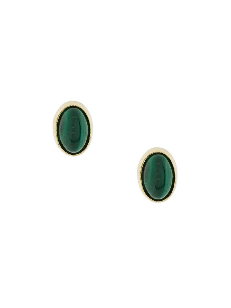 Wouters & Hendrix oval Malachite earrings - Metallic f9rPGmnxh