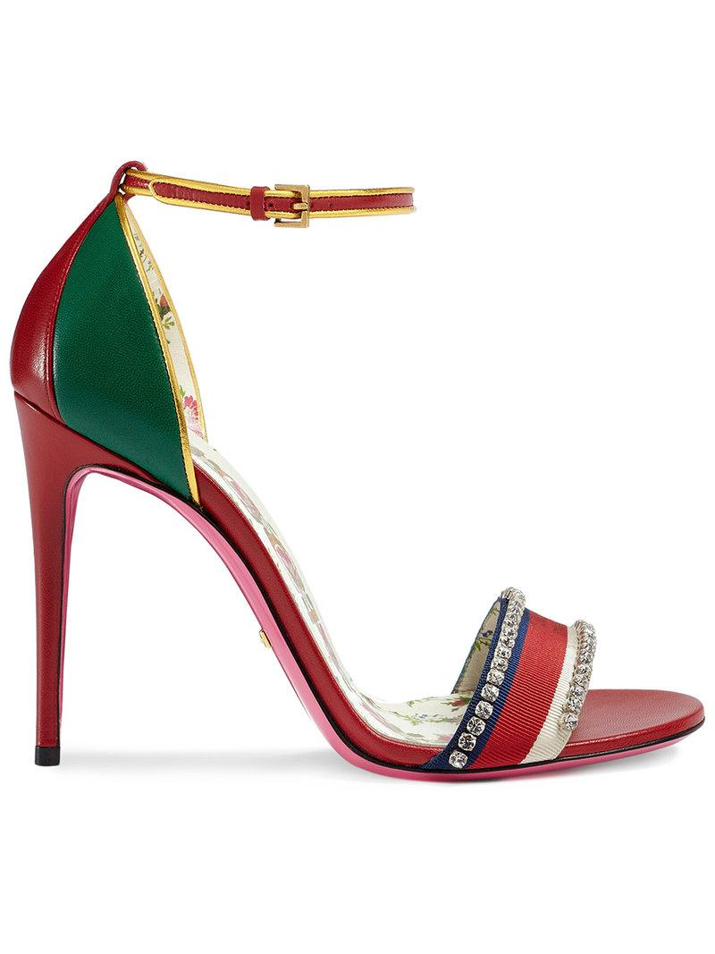 312c11268846 Gucci Leather Sandal With Crystals in Red - Save 43% - Lyst