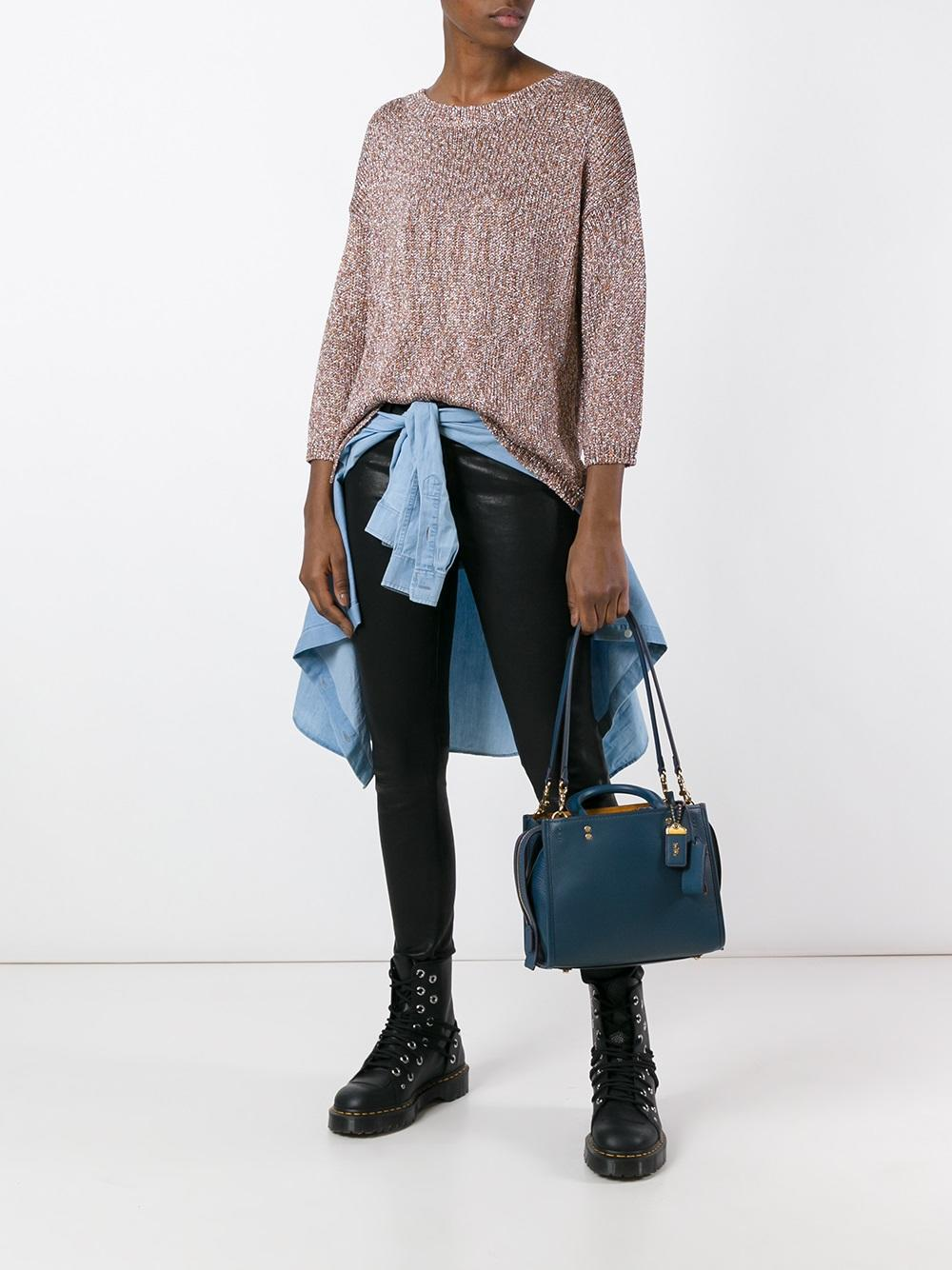 COACH Leather Detachable Straps Tote in Blue