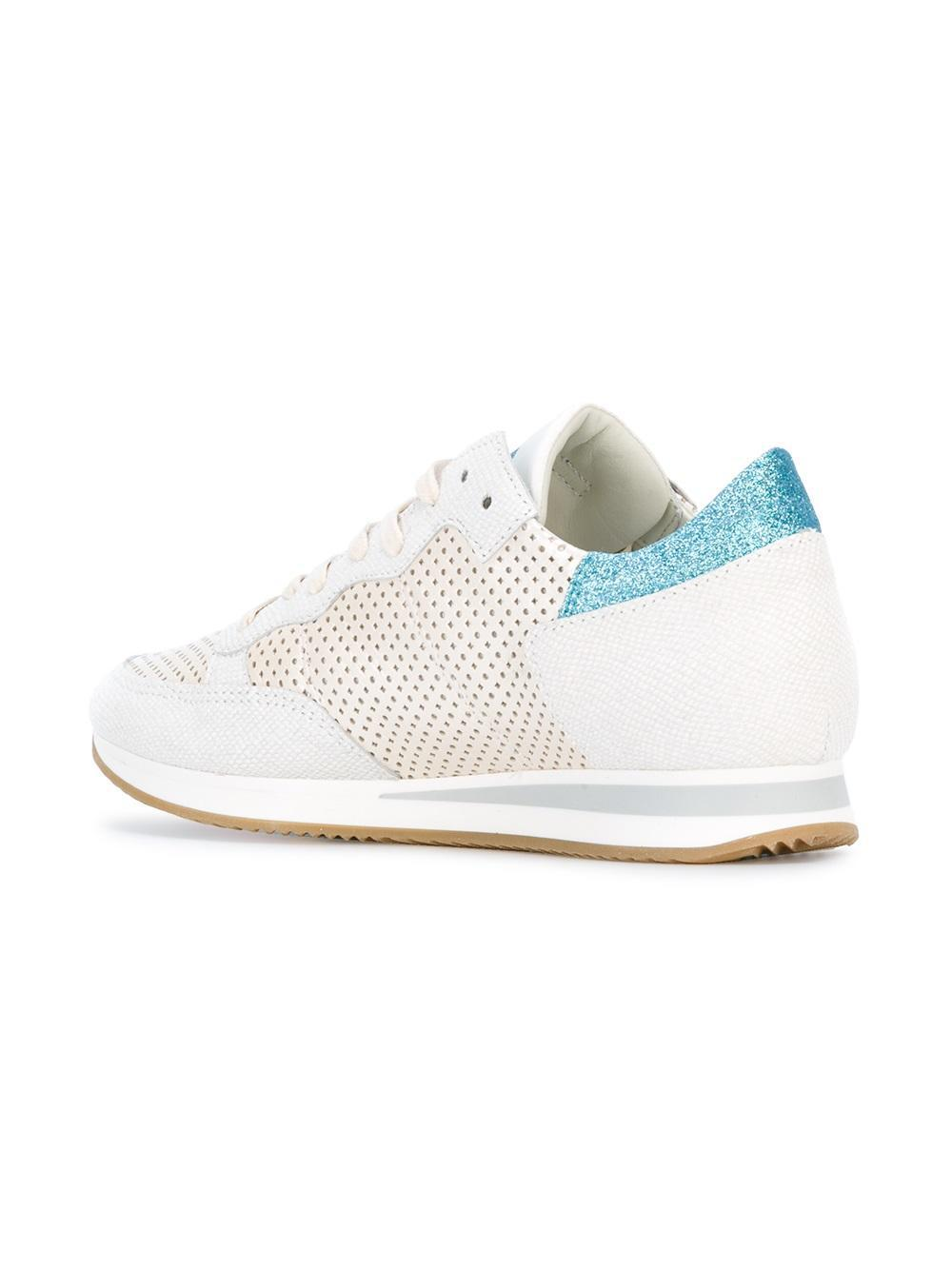 Philippe Model Cotton Lace Up Trainers in White