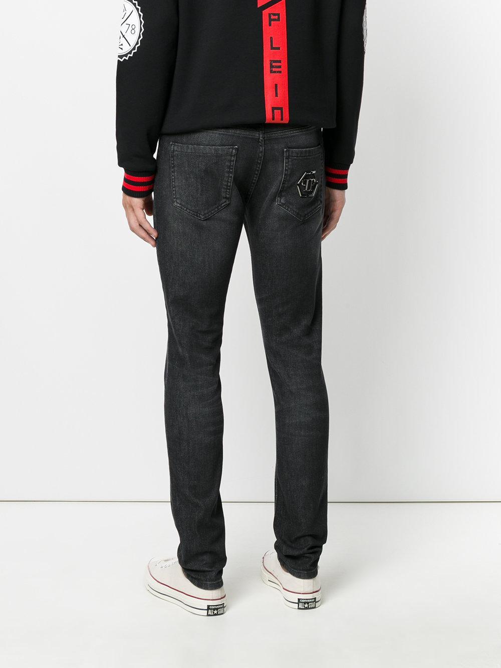 Philipp Plein Denim Slim Fit Jeans With Logo Plaque in Grey (Grey) for Men