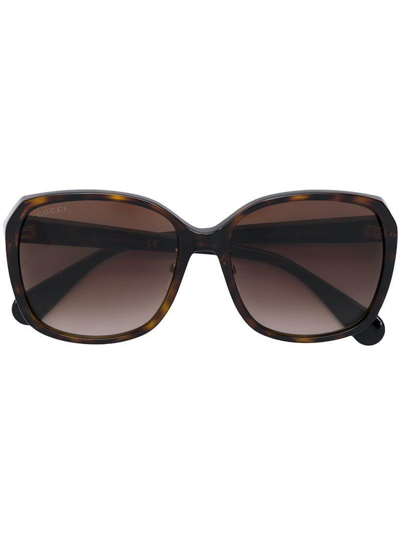 4af0cf03a94 Gucci - Brown Square Sunglasses - Lyst. View fullscreen