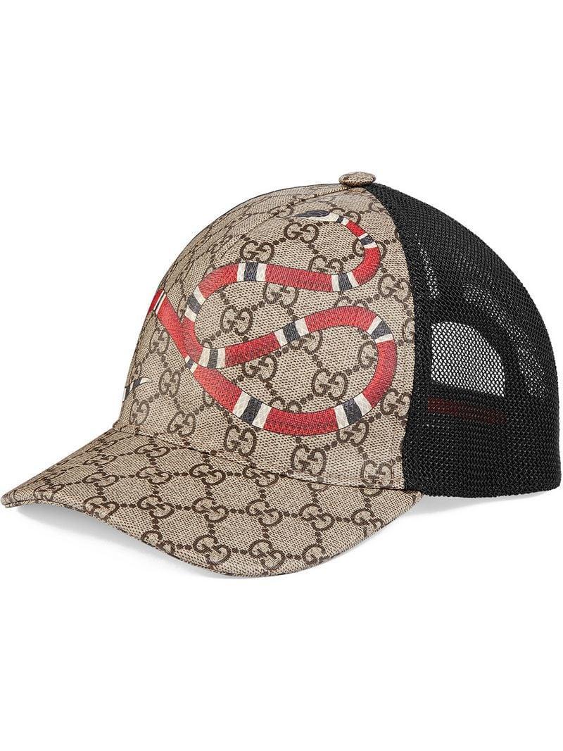 Lyst - Gucci Snake Print Gg Supreme Baseball Hat for Men - Save 33% b4c5475b615