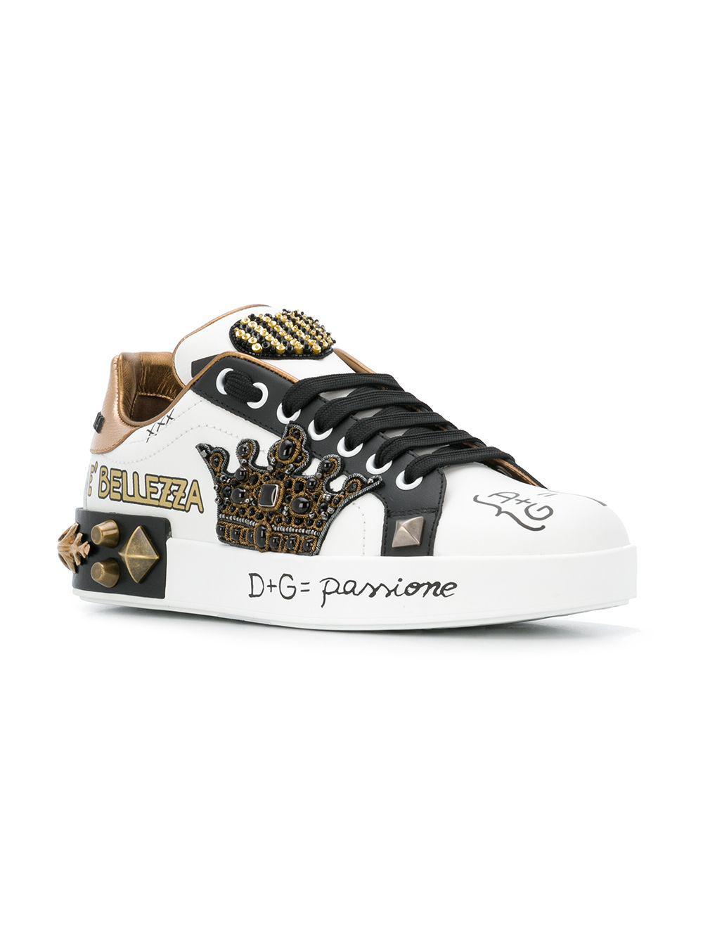 3e9e6c7b0131 Dolce   Gabbana - White Portofino Crown Sneakers - Lyst. View fullscreen