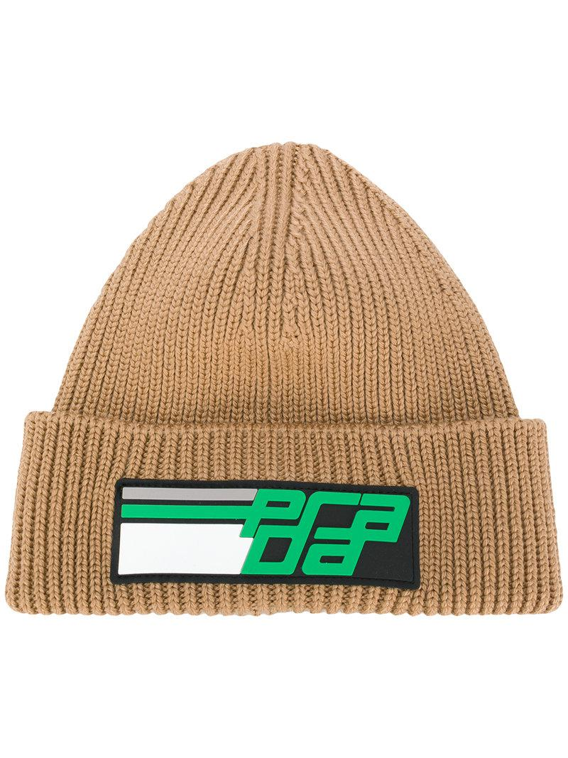80a1a8f6 ... france prada. womens green logo knit beanie hat d3799 4f6e3