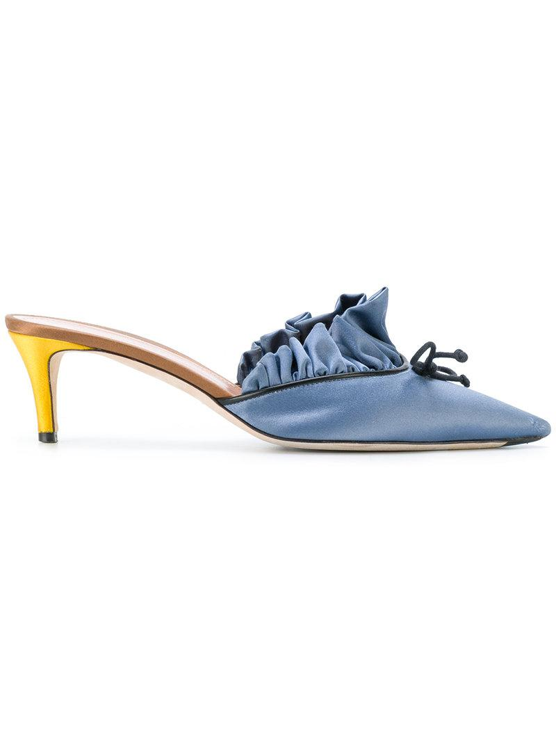8713fea64ca9 Lyst - Marco De Vincenzo Pleated Pointed Toe Mules in Blue