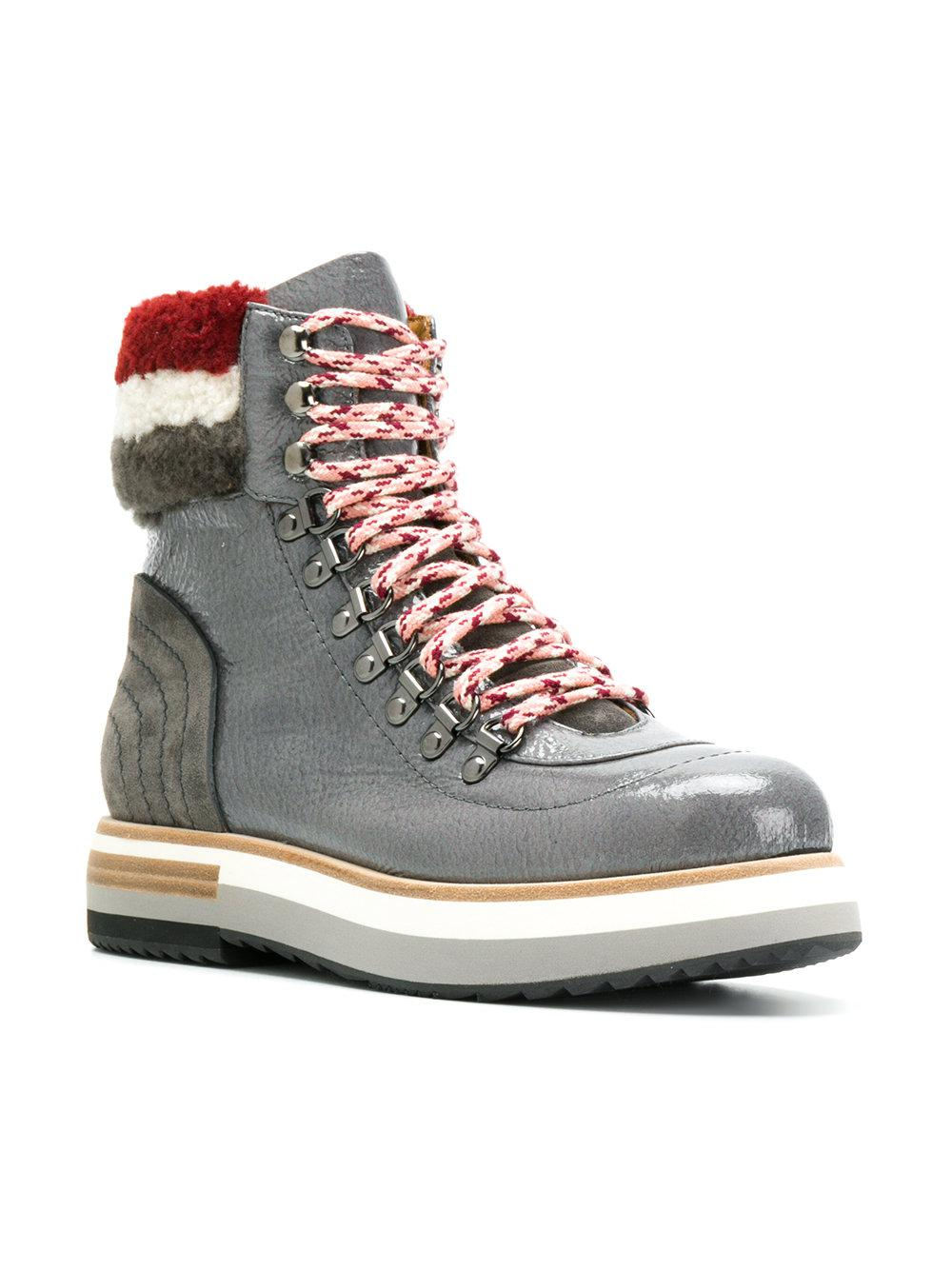 Fabi Leather Faux Shearling Trim Boots in Grey (Grey)