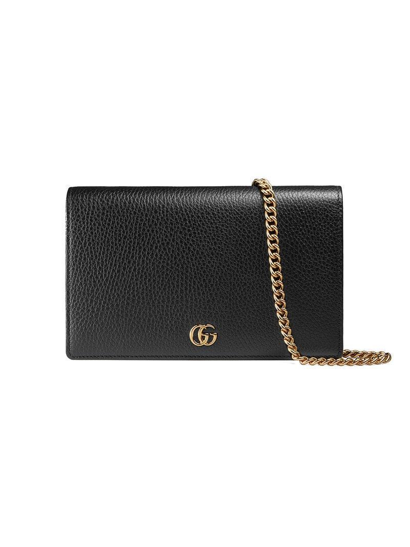 Gucci GG Marmont Leather Mini Chain Bag in Black - Lyst cf3ff8c28bf32