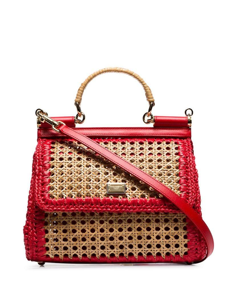 123925ee81c7 Dolce   Gabbana Red Sicily Raffia And Leather Shoulder Bag in Red - Lyst