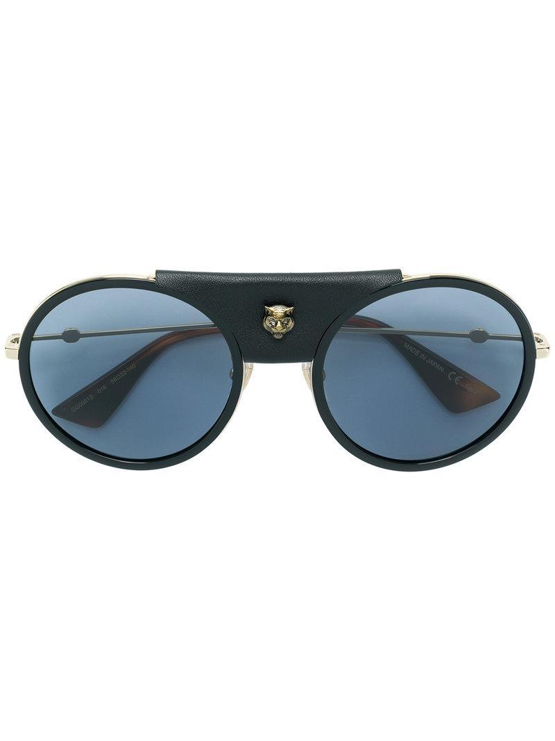 33e81fe99a2 Gucci Oversized Round Sunglasses in Black - Lyst