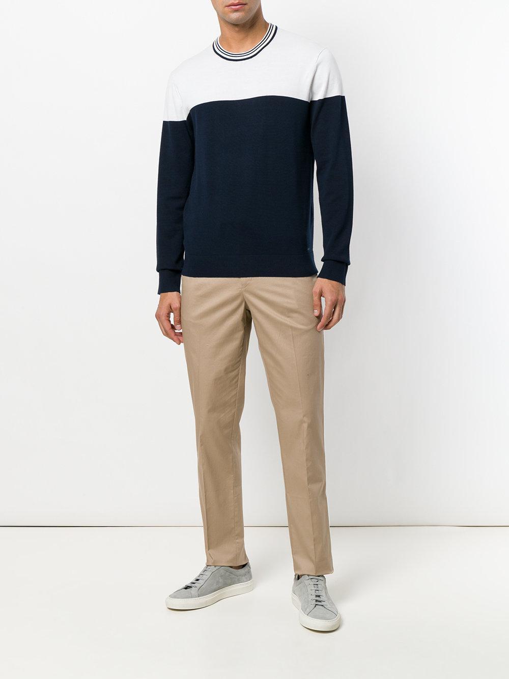 Michael Kors Cotton Straight Leg Trousers in Natural for Men