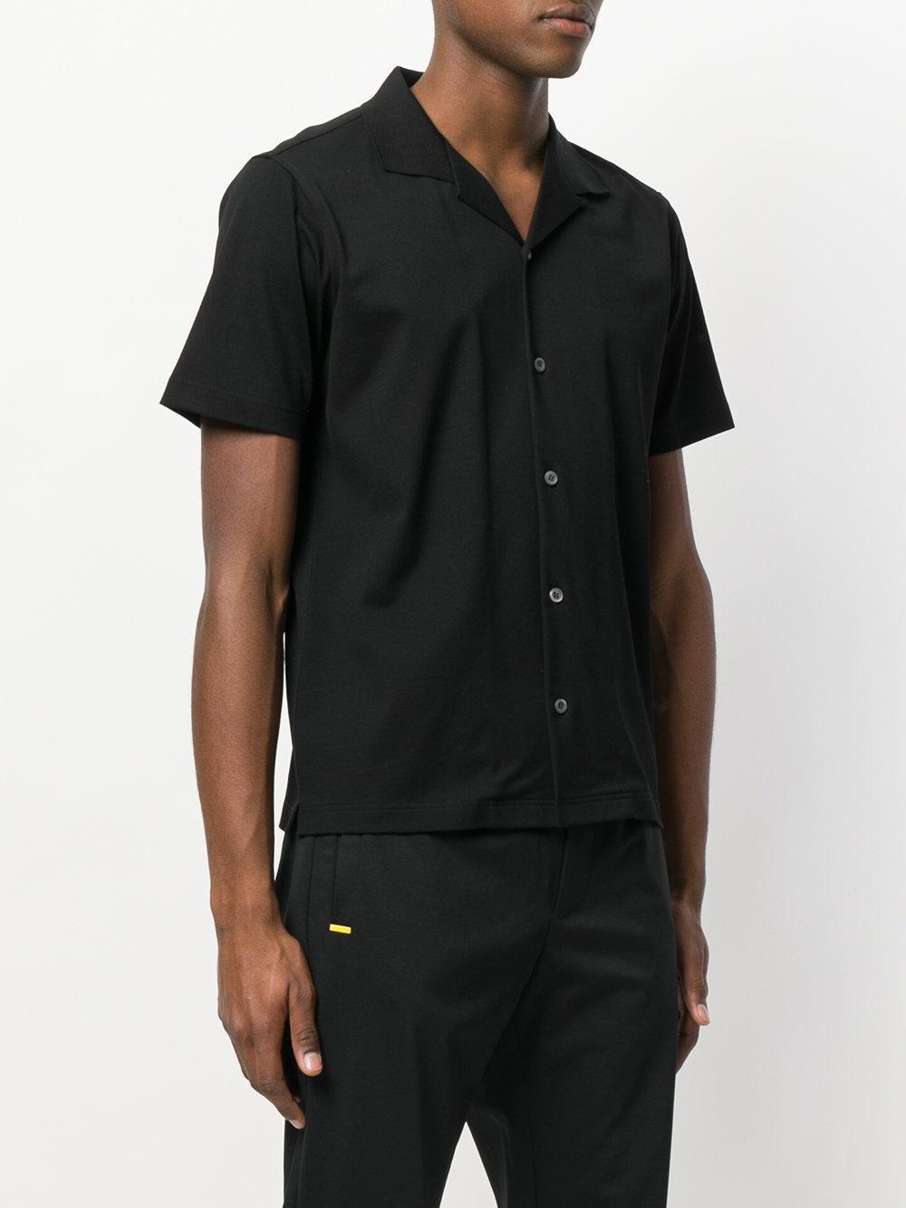Prada Cotton Open Collar Bowling Shirt in Black for Men