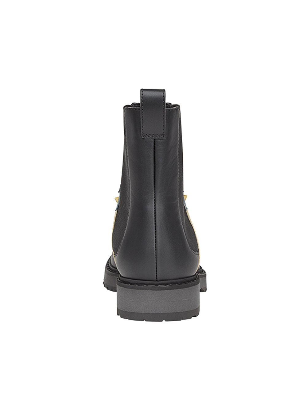 Fendi Leather Studded Chelsea Boots in Black
