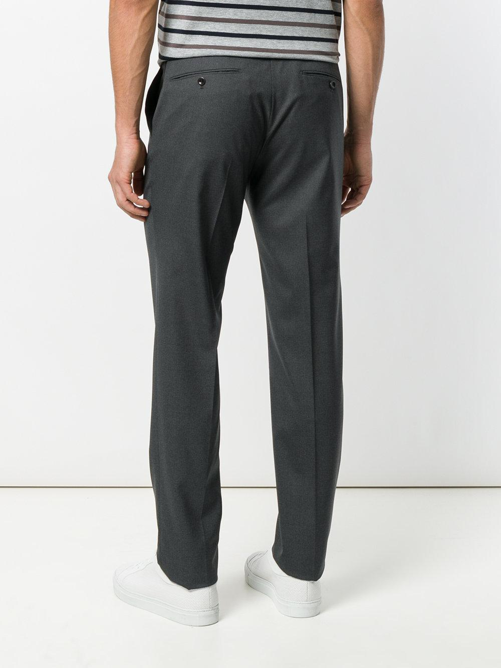 Incotex Wool Straight-leg Trousers in Grey (Grey) for Men
