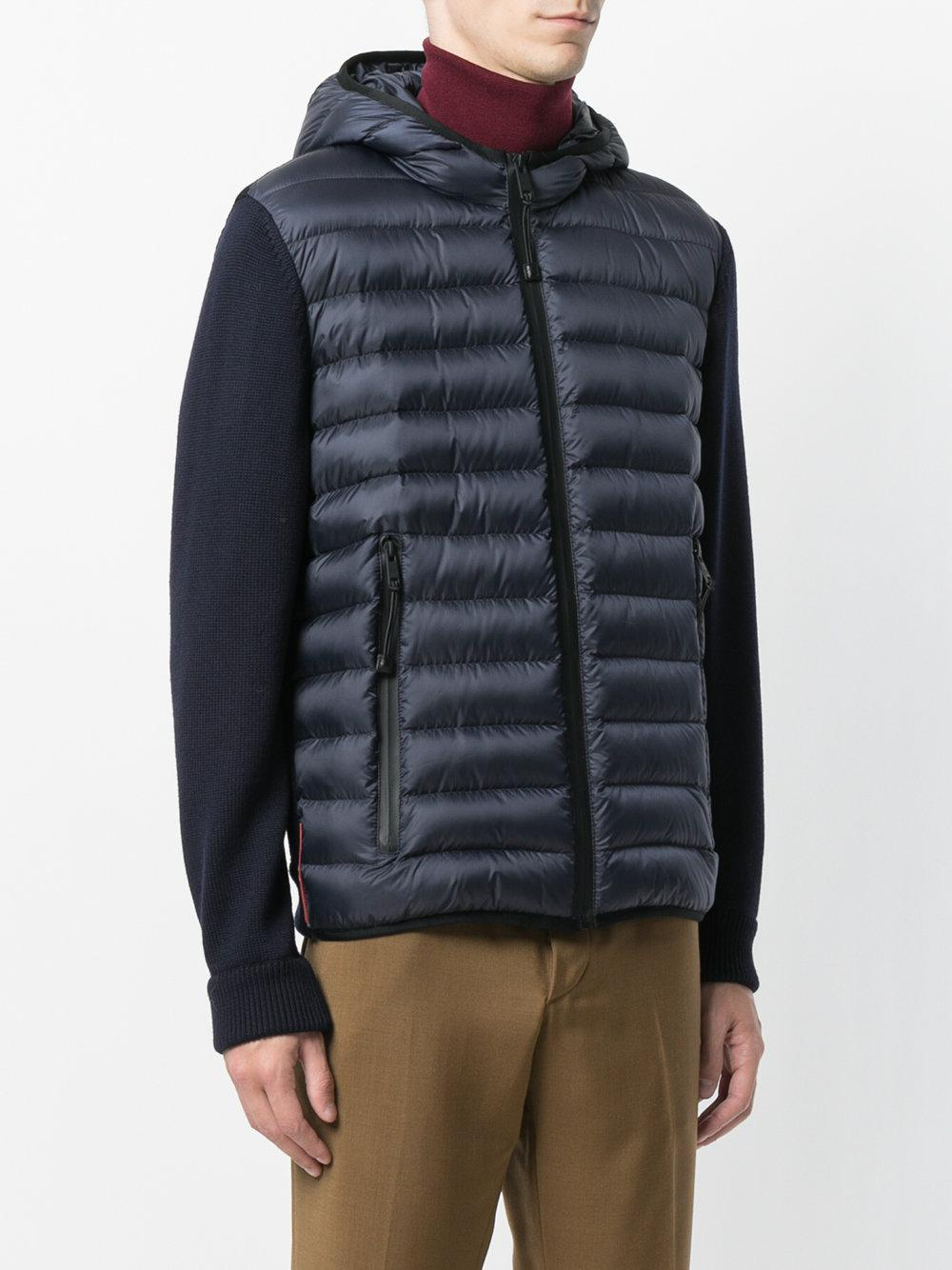 Prada Leather Padded Zipped Jacket in Blue for Men