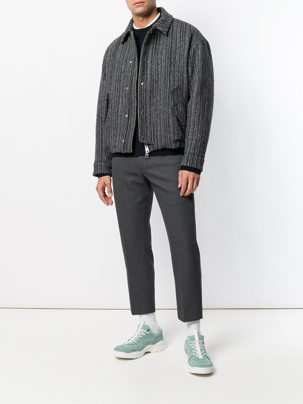 AMI Wool Lined Quilted Zipped Jacket in Black for Men