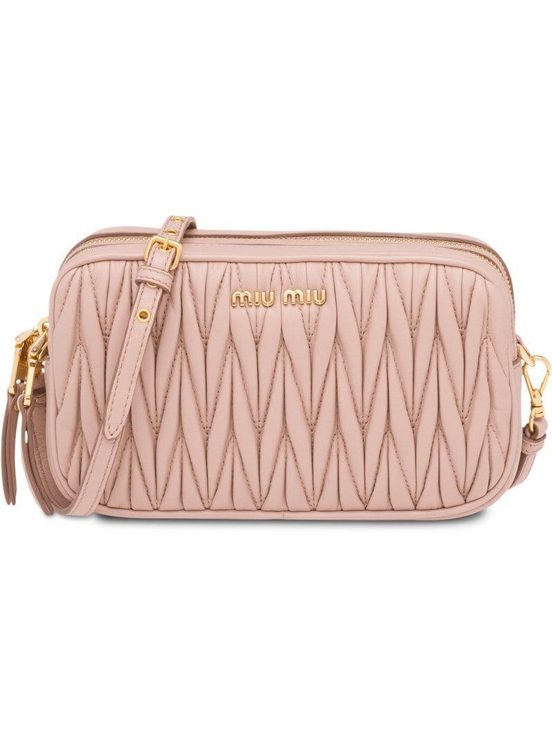 492fcf533775 Lyst - Miu Miu Matelassé Make-up Bag in Pink - Save 10%