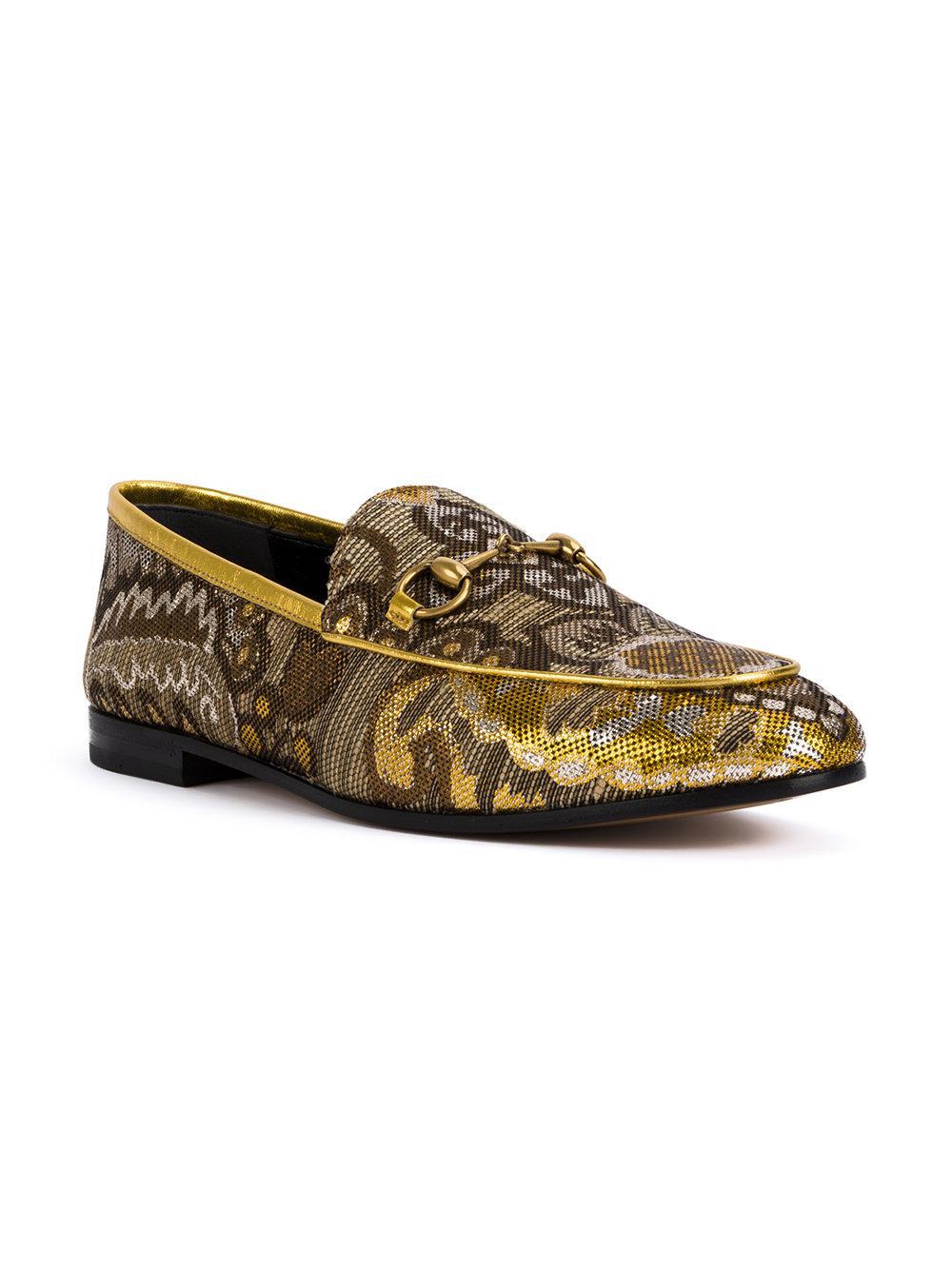 c9205193966 Gucci Jordaan Floral Brocade Loafers - Lyst