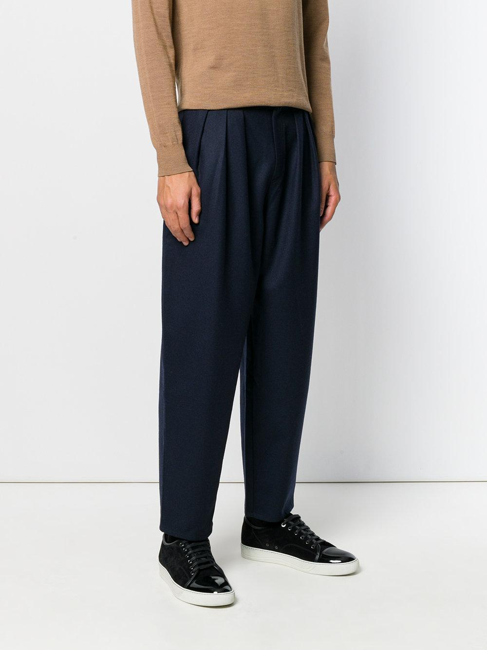 Reality Studio Wool Front Pleat Trousers in Blue for Men
