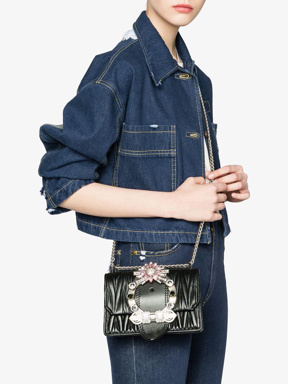 d86b28e7c7f8 Lyst - Miu Miu Miu Lady Matelassé Shoulder Bag in Black - Save 5%