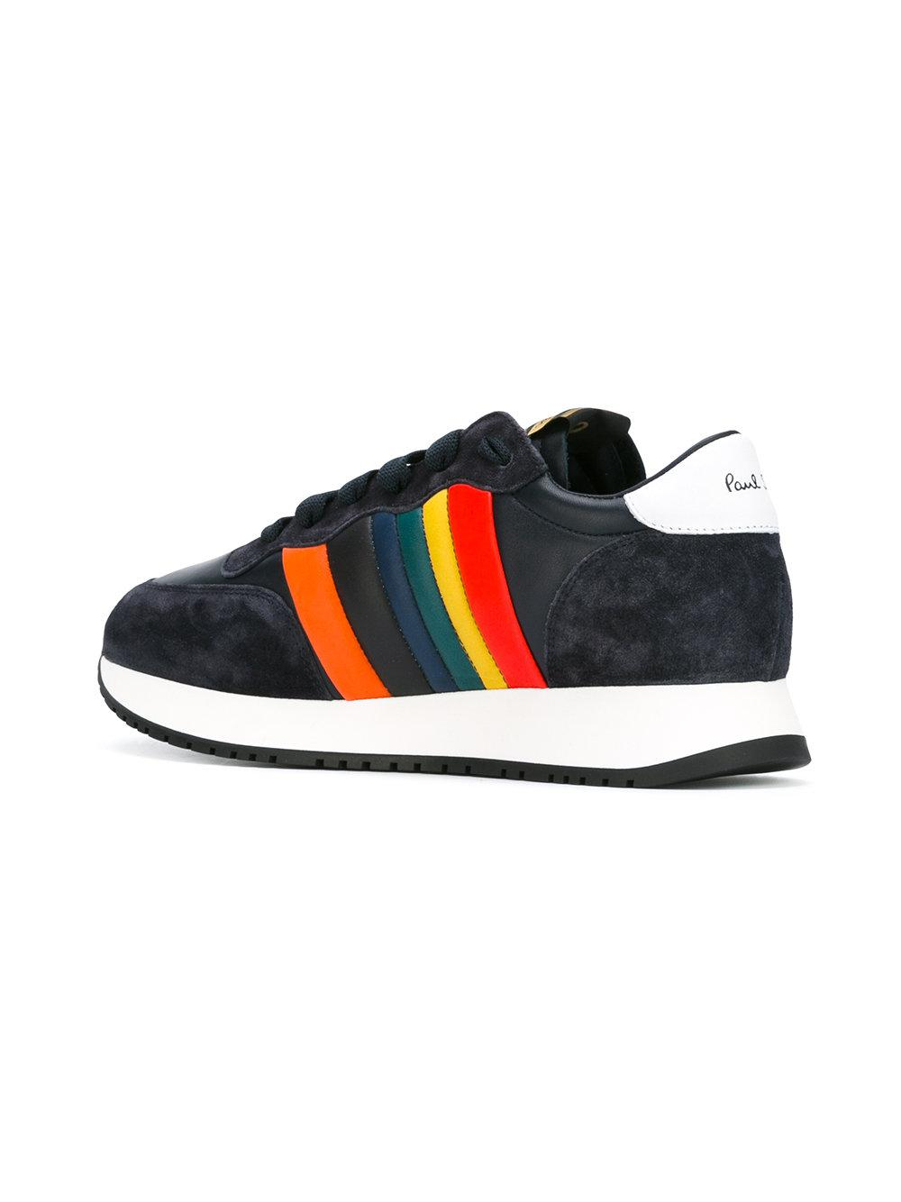 Paul Smith Leather Rainbow Trim Trainers in Blue for Men