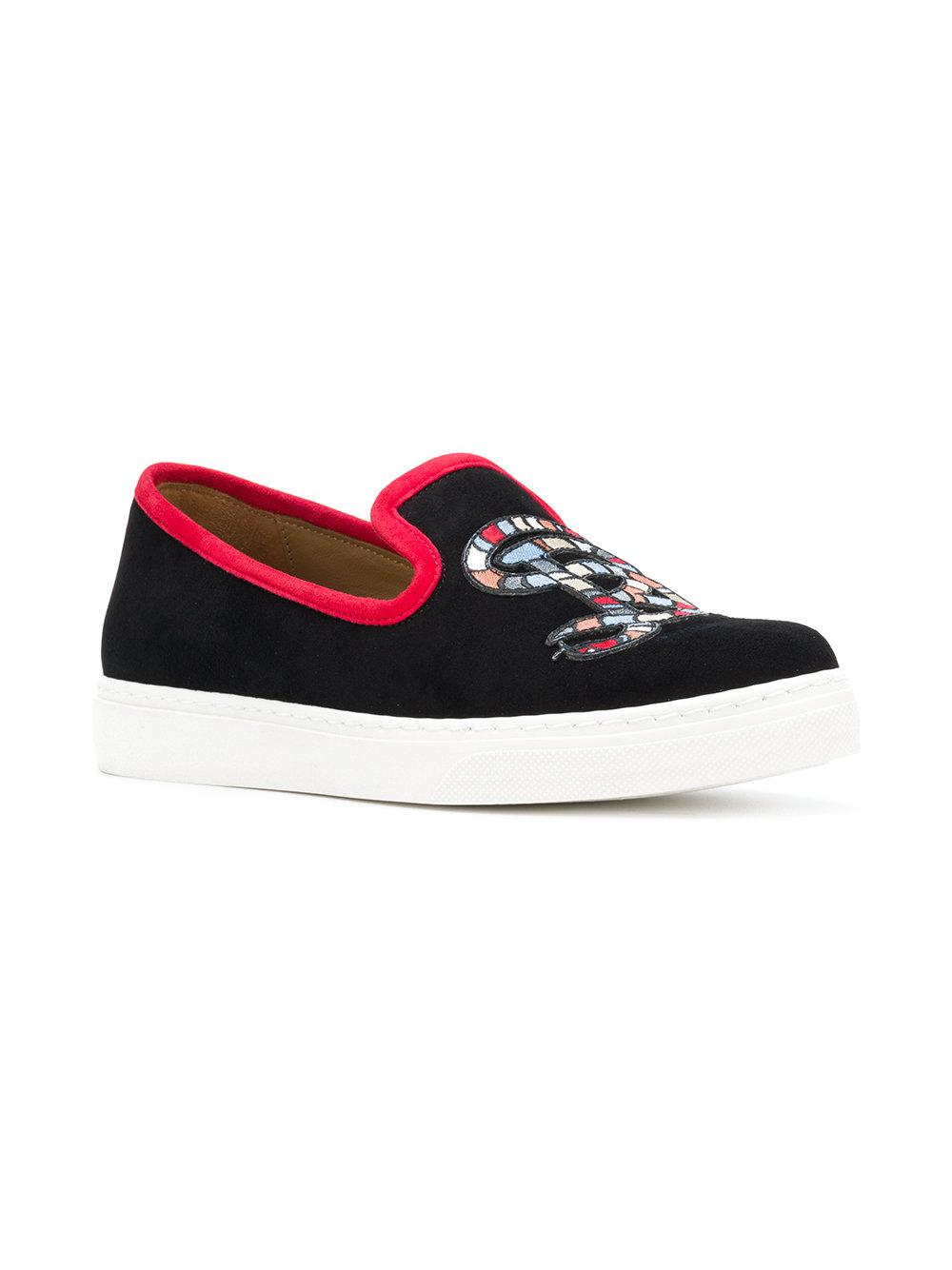 Sonia Rykiel Suede Snake Patch Slip On Sneakers in Black