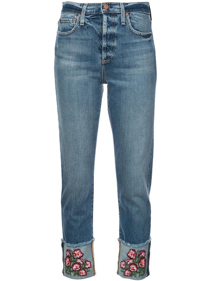 Alice+Olivia Big Blooms embellished jeans Free Shipping Order FiWdWem