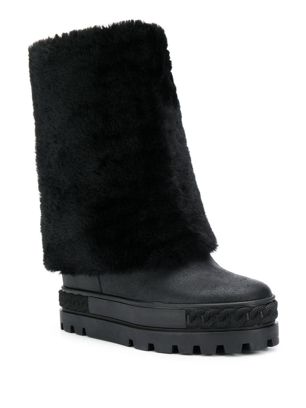 Casadei Leather Flatform Boots in Black