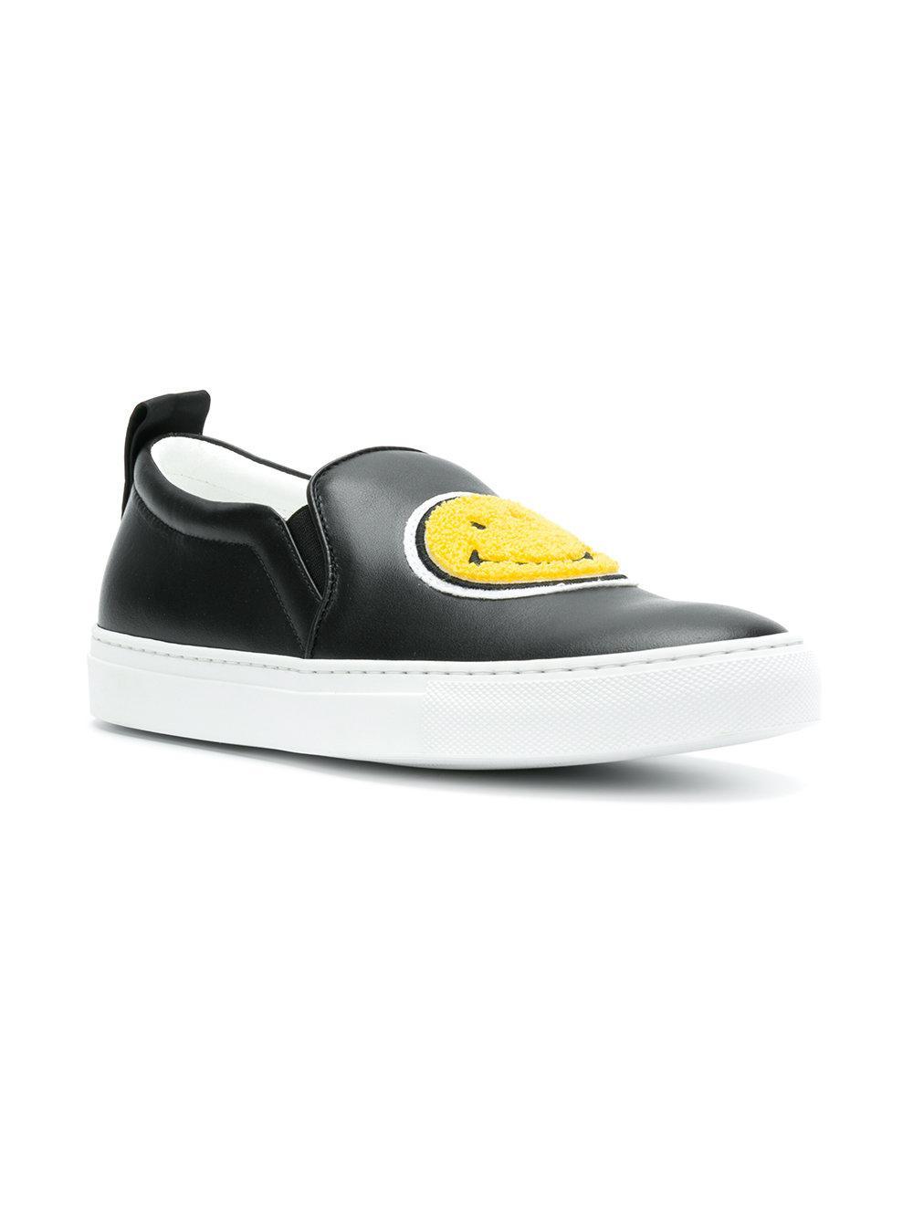 Joshua Sanders Leather Smiley Sneakers in Black