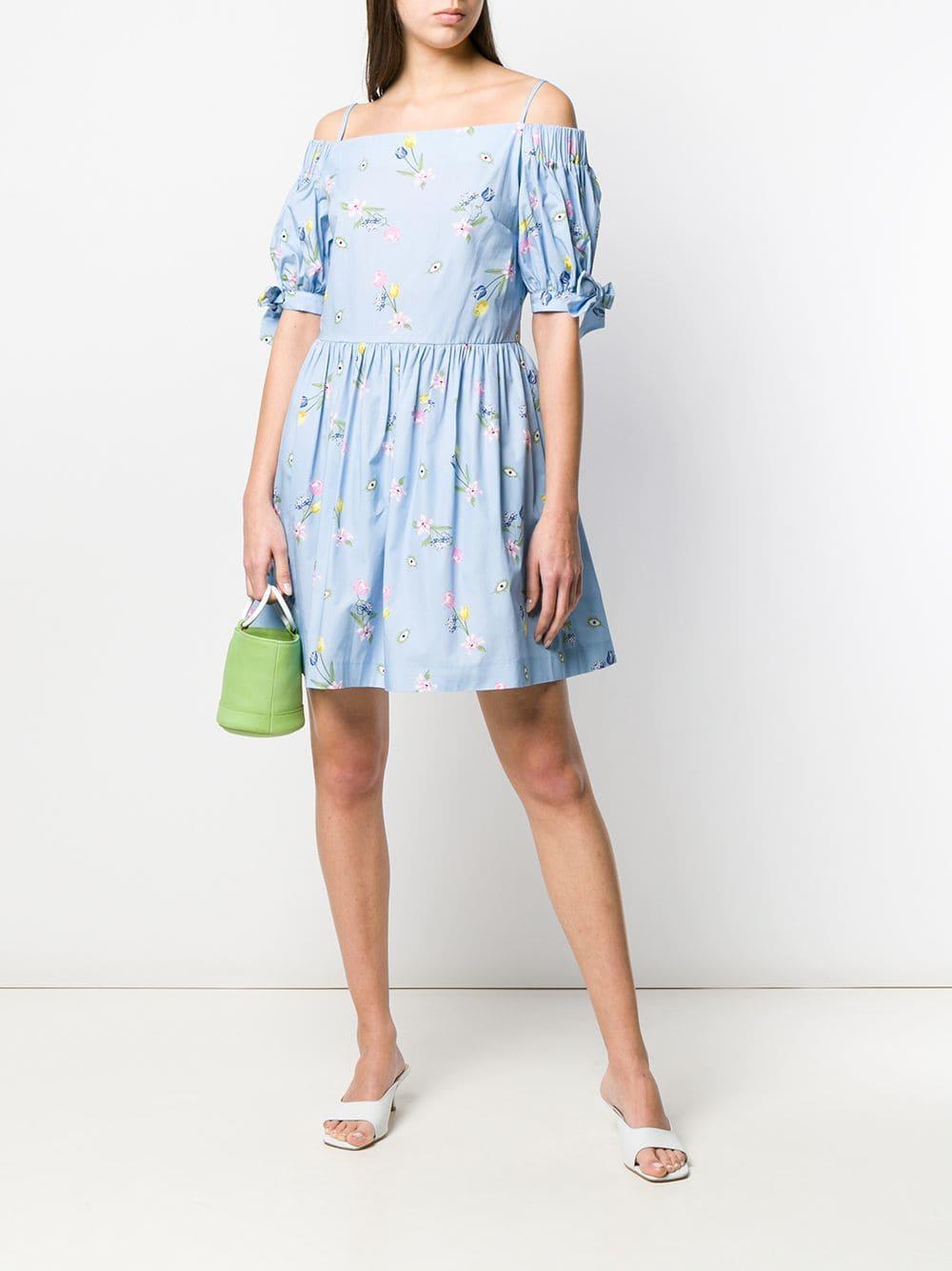8d18ec8b697 Lyst - Vivetta Off Shoulder Floral Print Dress in Blue