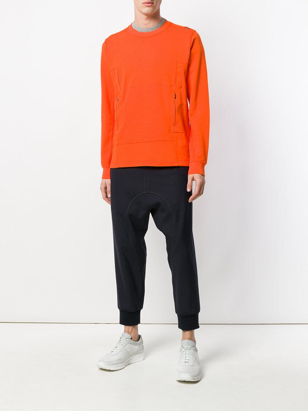 Stone Island Fleece Flank Pocket Crew Neck Sweatshirt in Yellow & Orange (Orange) for Men