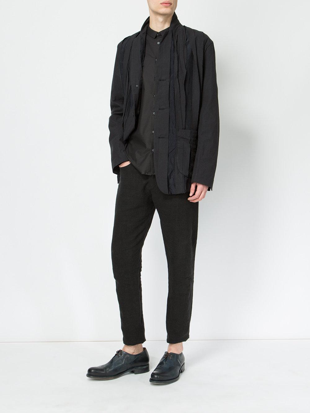 Uma Wang Cotton Pleated Button Front Jacket in Blue for Men