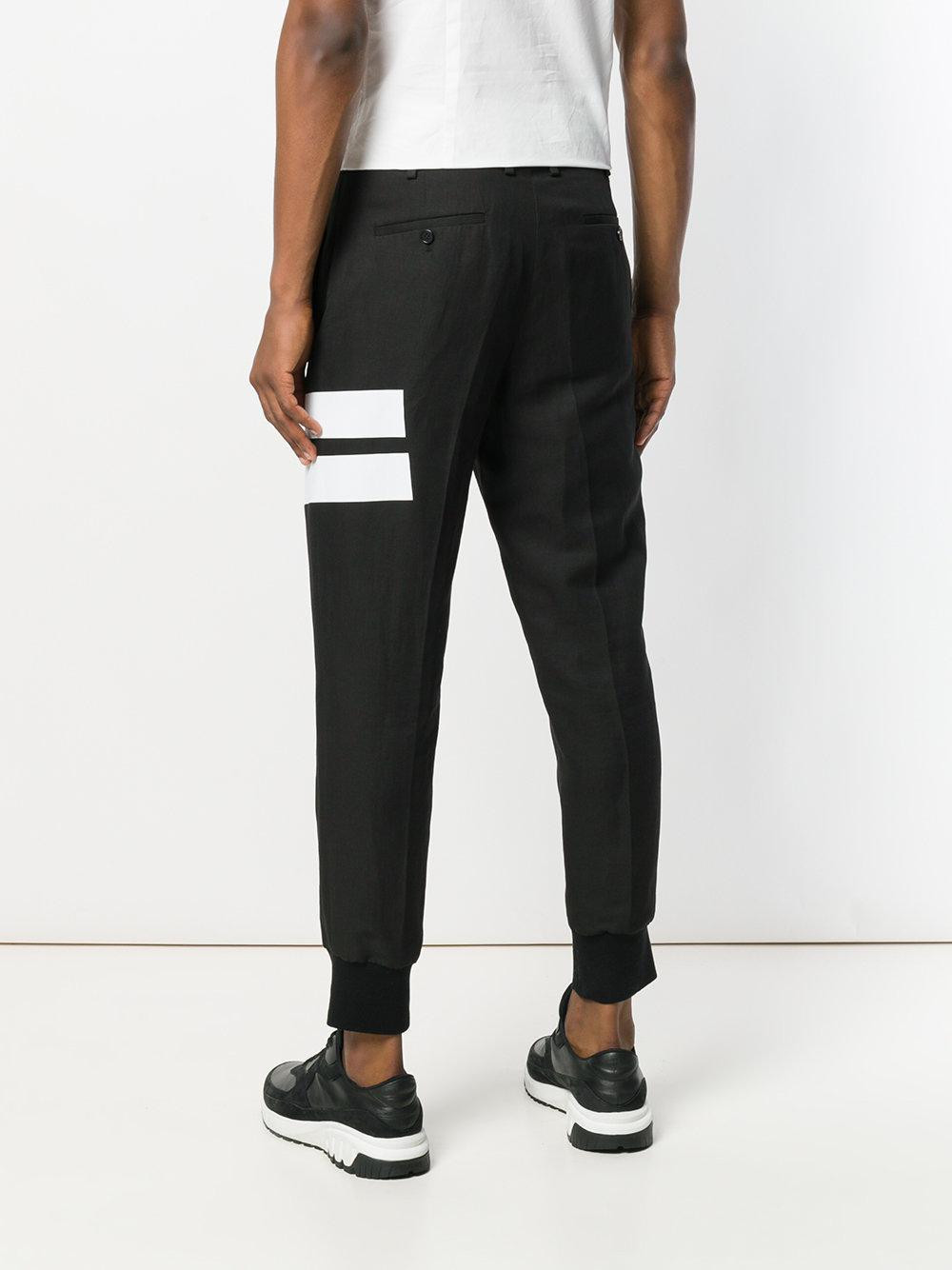 Neil Barrett Cotton Tape Detail Trousers in Black for Men