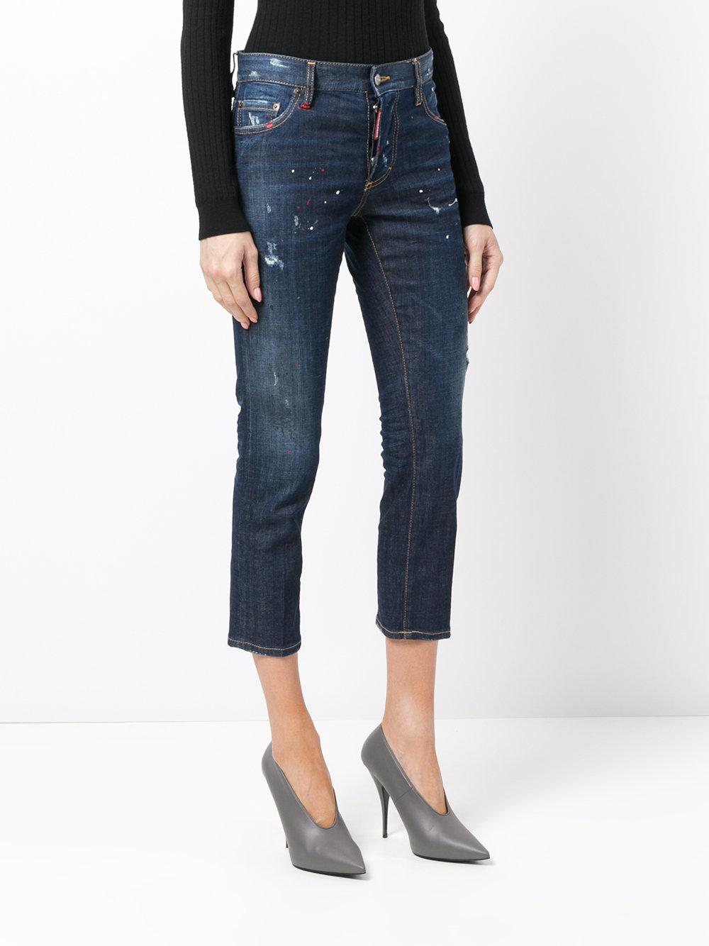 DSquared² Denim Cropped Straight Jeans in Blue