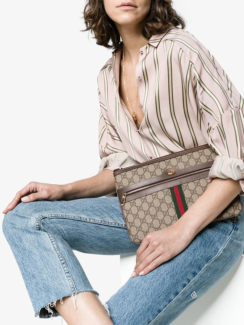 0da3b1b3ae3 Gucci - Brown Ophidia GG Supreme Leather Pouch - Lyst. View fullscreen