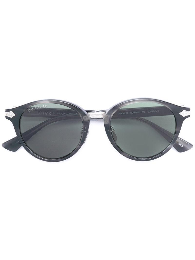 70a3676b13f Gucci Round Frame Sunglasses in Green for Men - Lyst