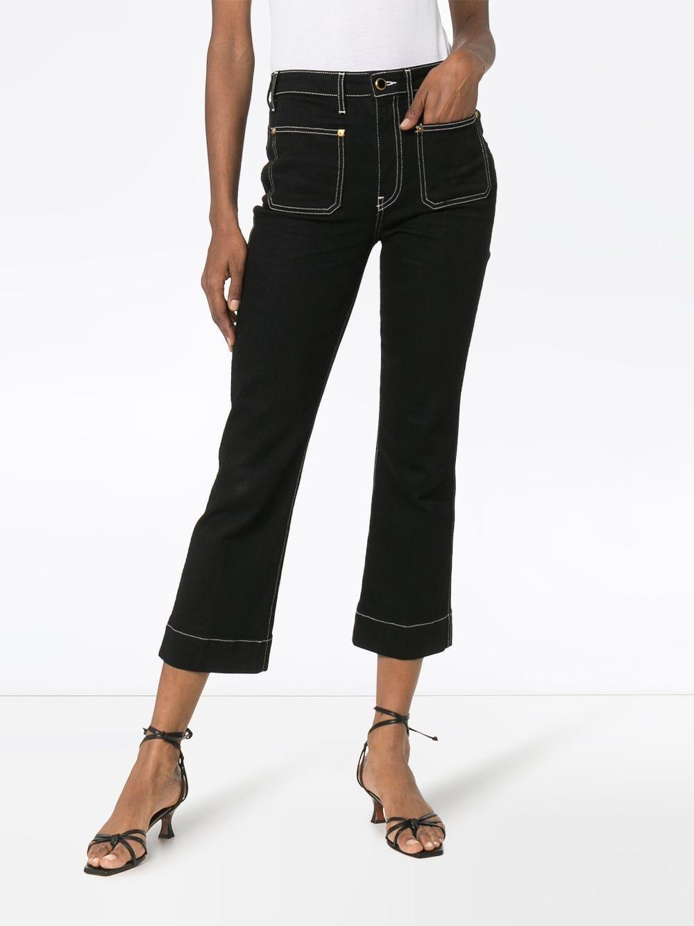 Khaite Denim 'Raquel' Cropped-Jeans in Schwarz Rzzzo