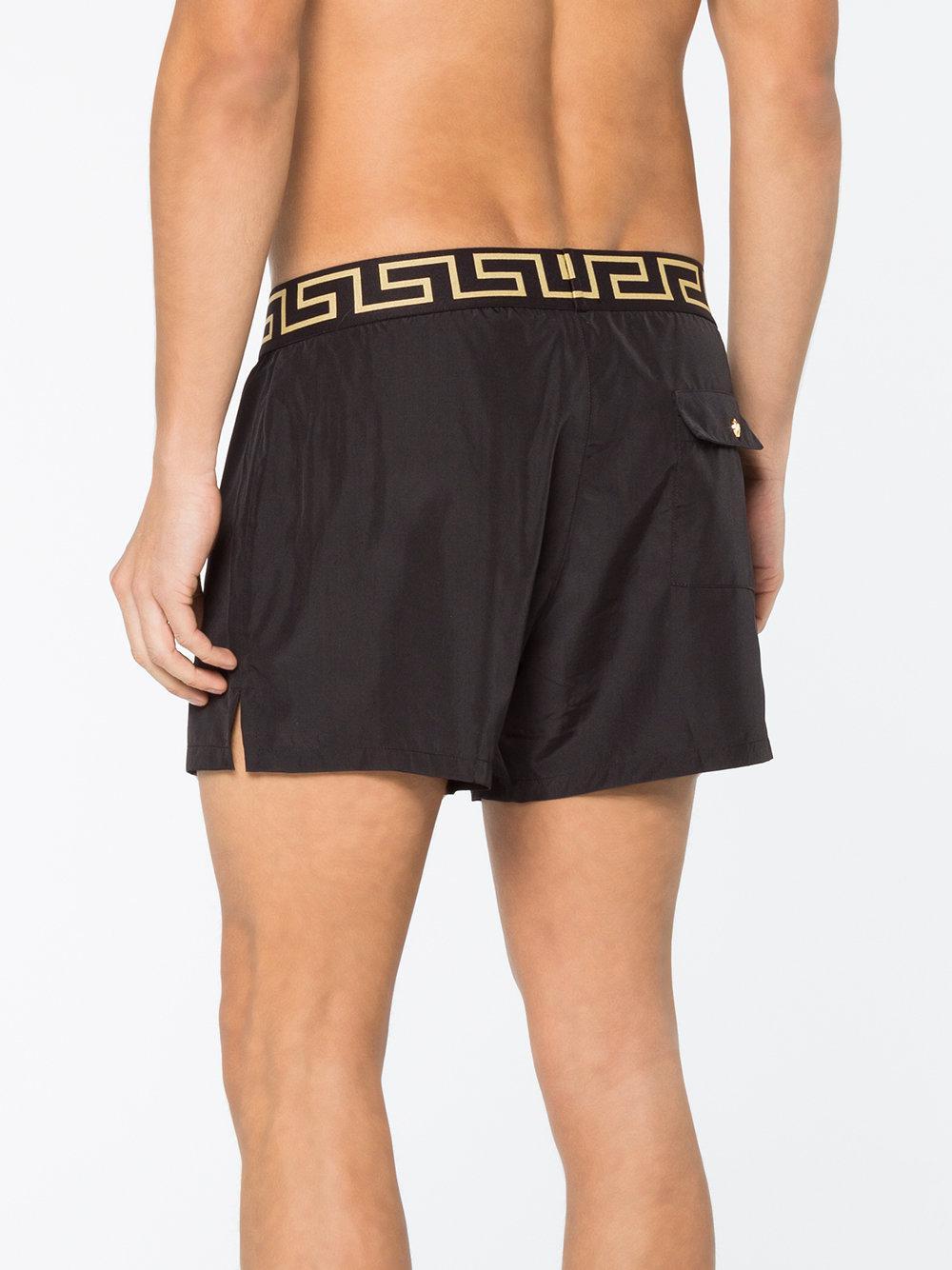 da28753e34229 Versace Greek Key Border Swim Shorts in Black for Men - Save 41% - Lyst