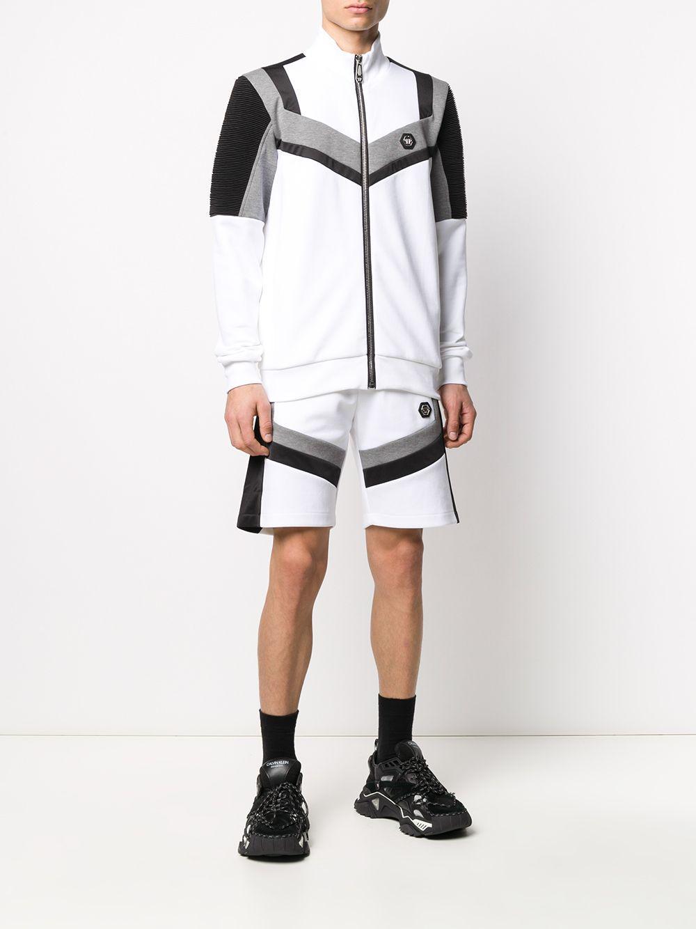 Philipp Plein Katoen Trainingsjack Met Colourblocking in het Wit voor heren