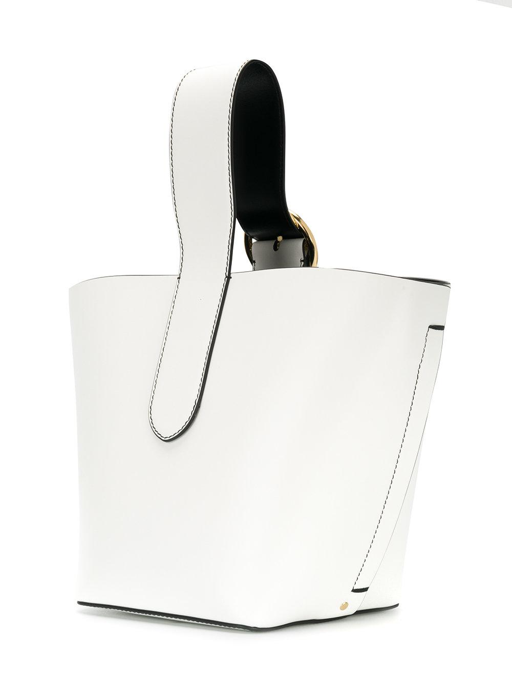 JOSEPH Leather Buckle Handle Tote in White