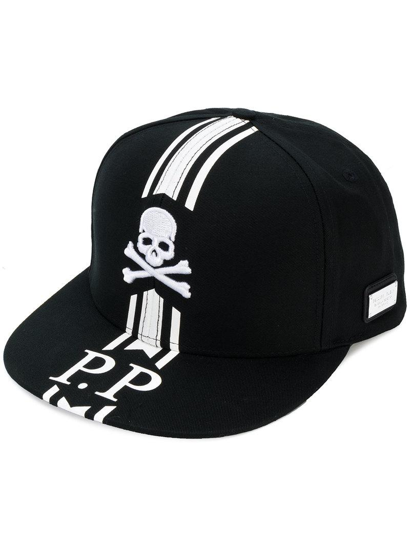 fe3cccd874b Lyst - Philipp Plein Skull And Stripe Baseball Cap in Black for Men