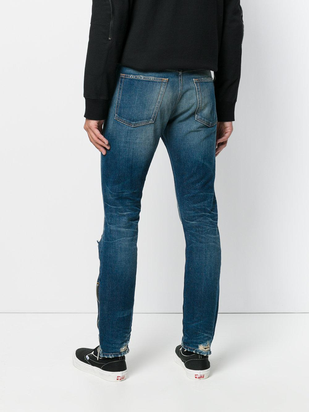 Palm Angels Denim Jeans Skinny Effetto Invecchiato in Blue for Men