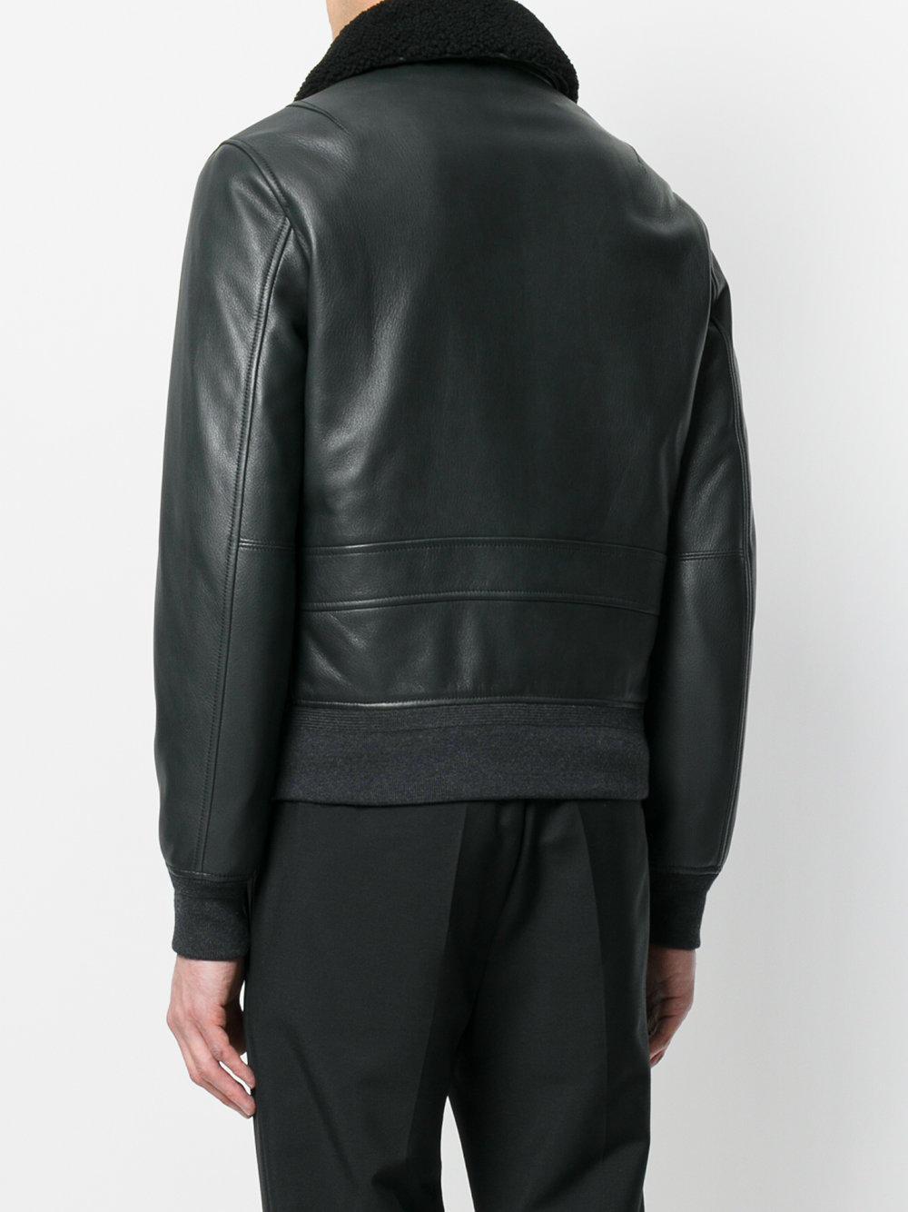 Alexander McQueen Leather Zipped Bomber Jacket in Black for Men