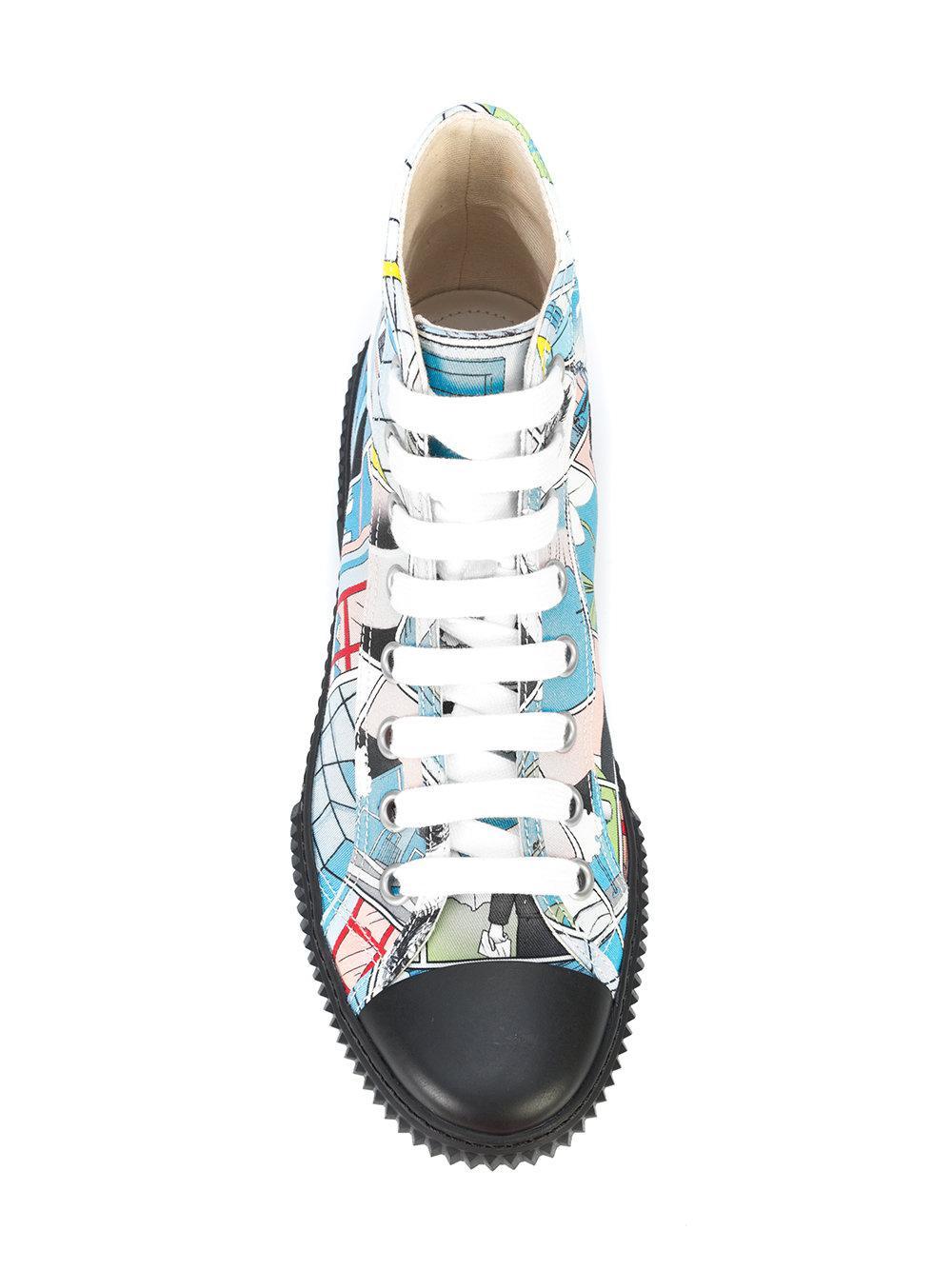e24f6a95a12bc3 Lyst - Prada Comic Printed Sneakers in Blue for Men
