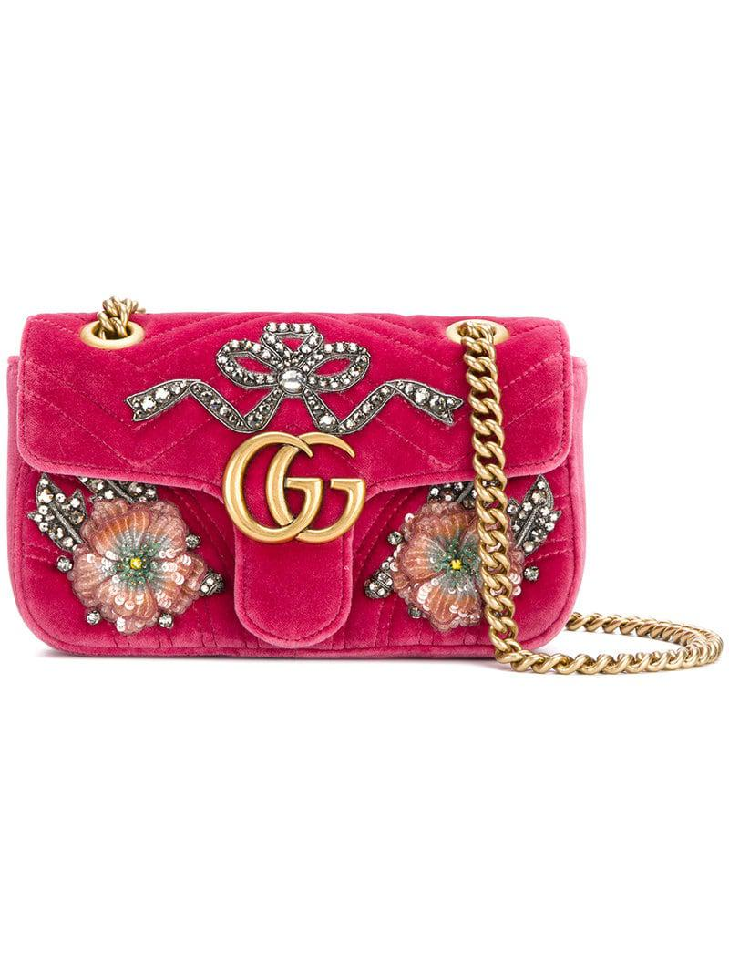 973d80556f74 Lyst - Gucci GG Marmont Embroidered Bag in Pink - Save 50%