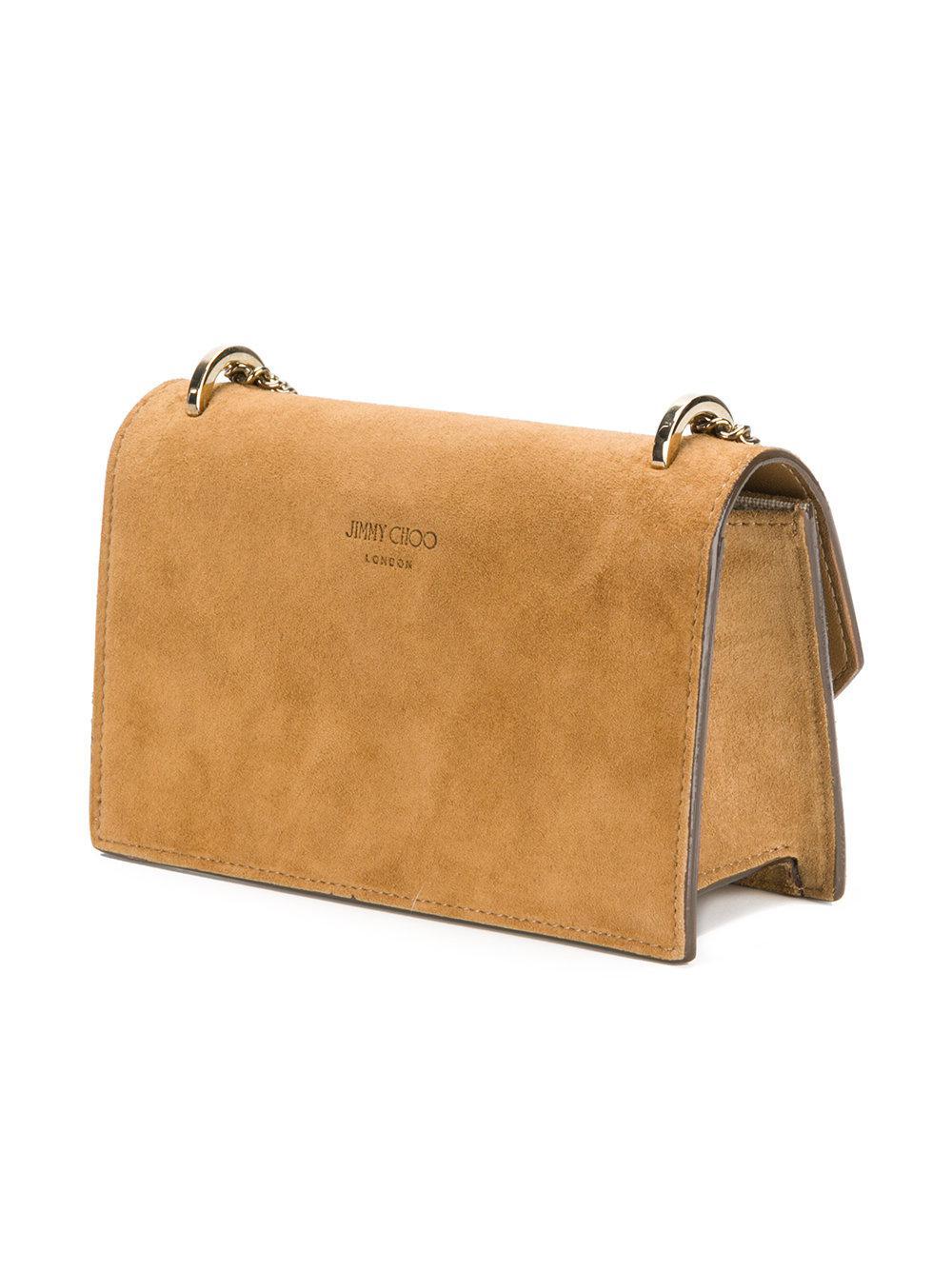 Jimmy Choo Suede Mini Finley Crossbody Bag in Brown