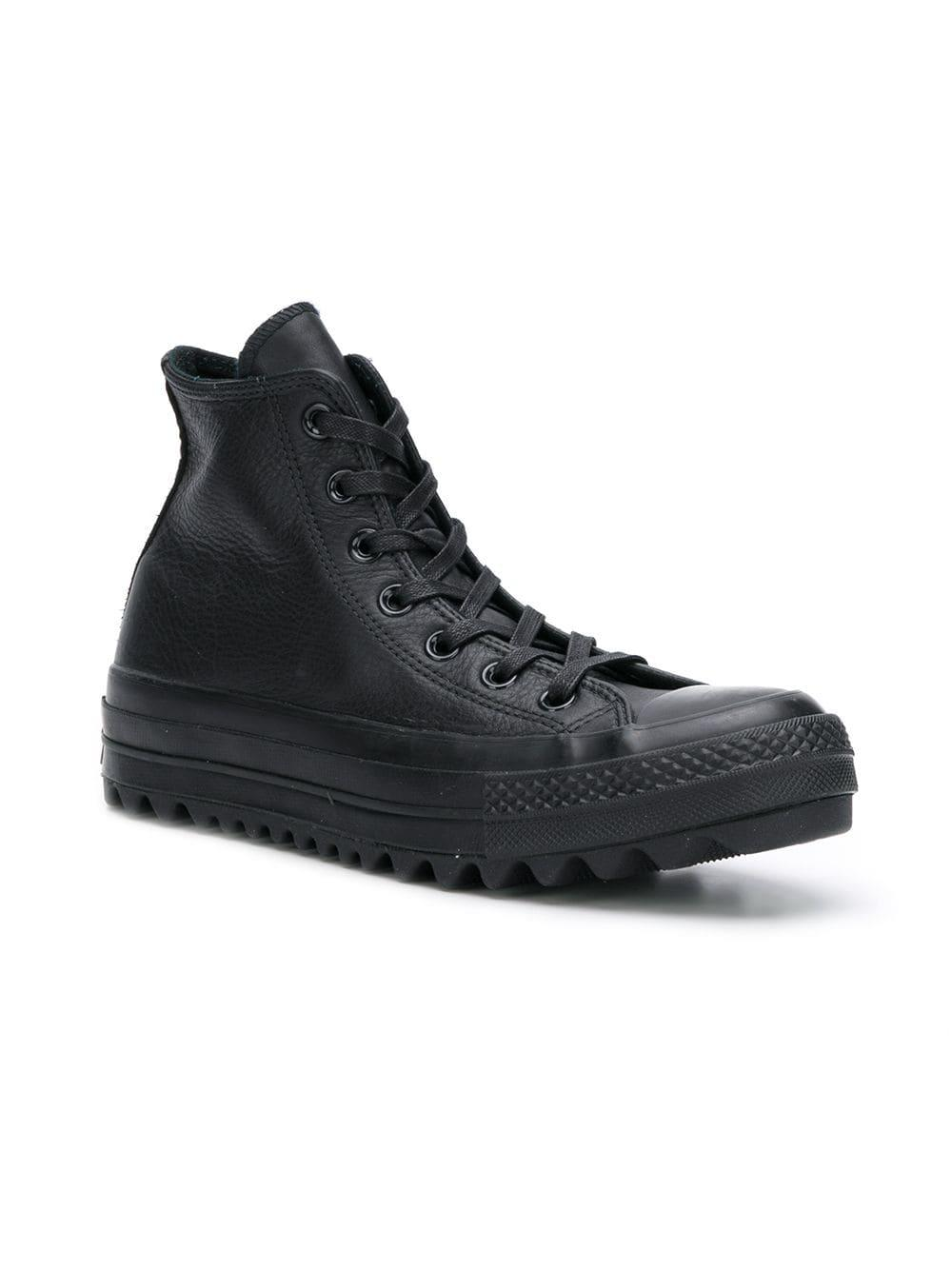 887a0cc8d9f Converse - Black Chuck Taylor Leather Sneakers for Men - Lyst. View  fullscreen