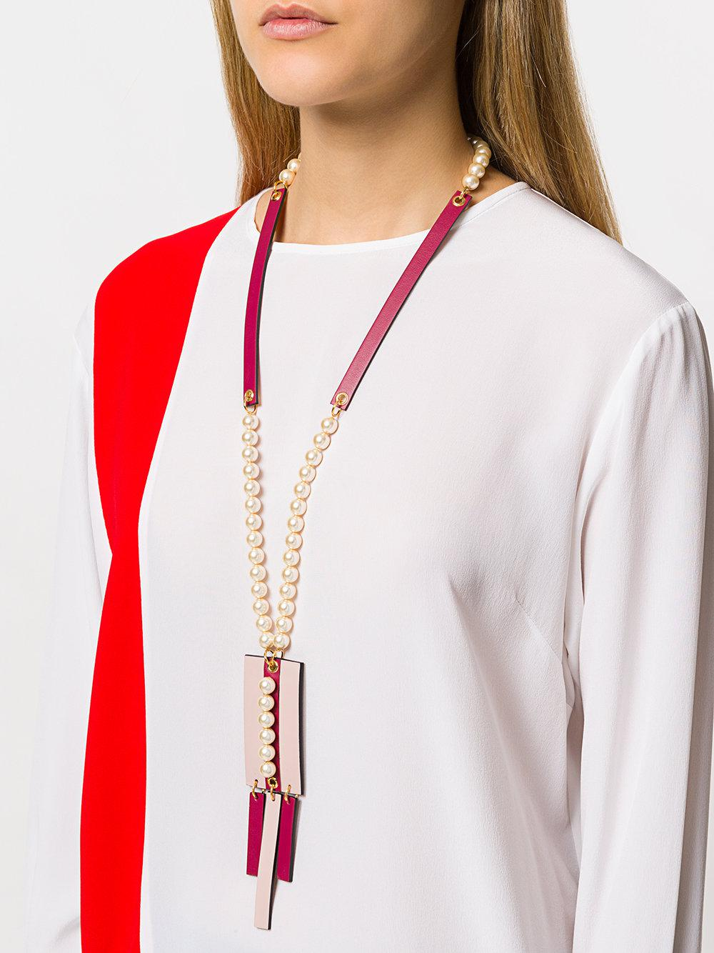 Marni Leather Embellished Pendant Necklace in Pink & Purple (Pink)