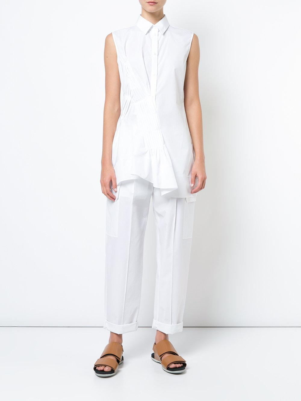 2d9a1da5 Jil Sander - White Pleat Gather Front Shirt - Lyst. View fullscreen